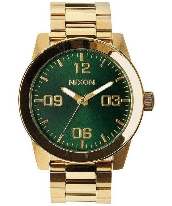 Nixon Corporal SS Gold Tone Green Sunray Dial A346-1919-00 Men's Watch - Click Image to Close