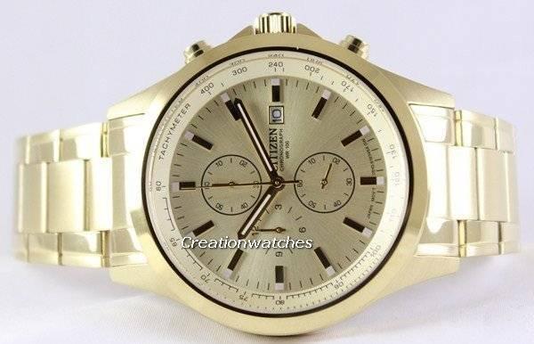 Citizen Chronograph Gold Dial Quartz AN3512-54P Men's Watch - Click Image to Close