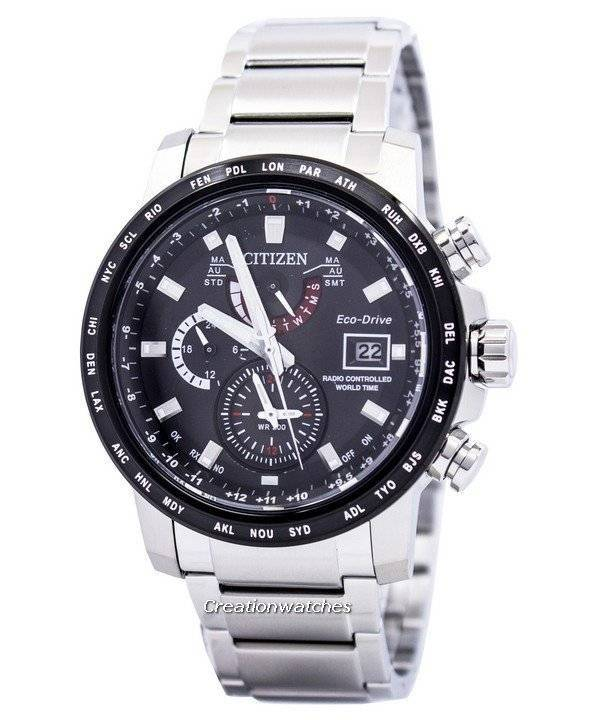 Citizen Eco-Drive Atomic Radio Controlled World Time AT9071-58E Men's Watch - Click Image to Close