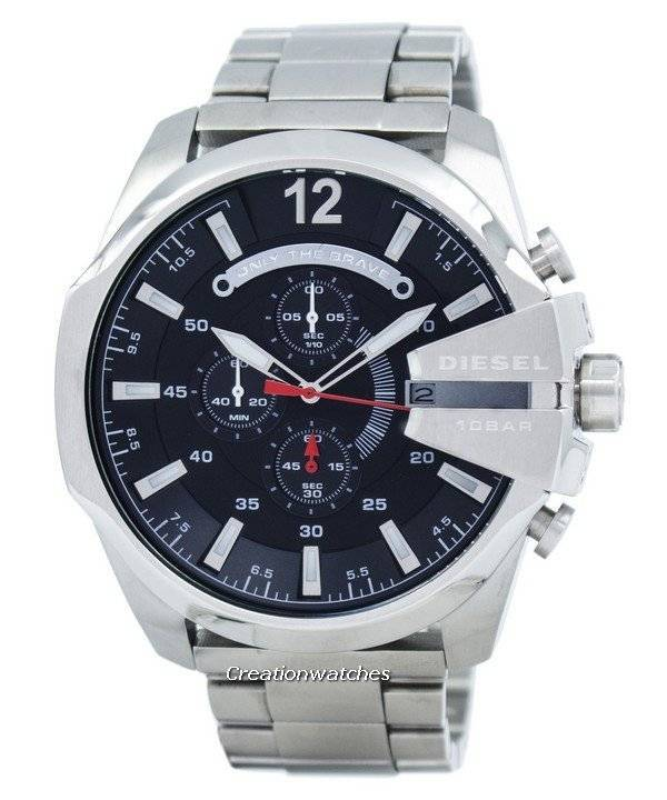 Diesel Mega Chief Quartz Chronograph Black Dial DZ4308 Men's Watch - Click Image to Close