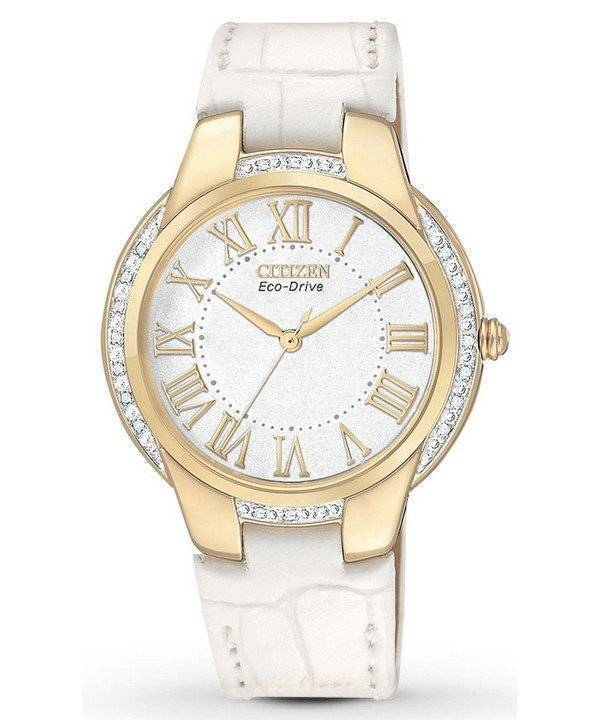 Citizen Ciena Diamonds Eco-Drive Gold Tone EM0092-01A Women's Watch - Click Image to Close