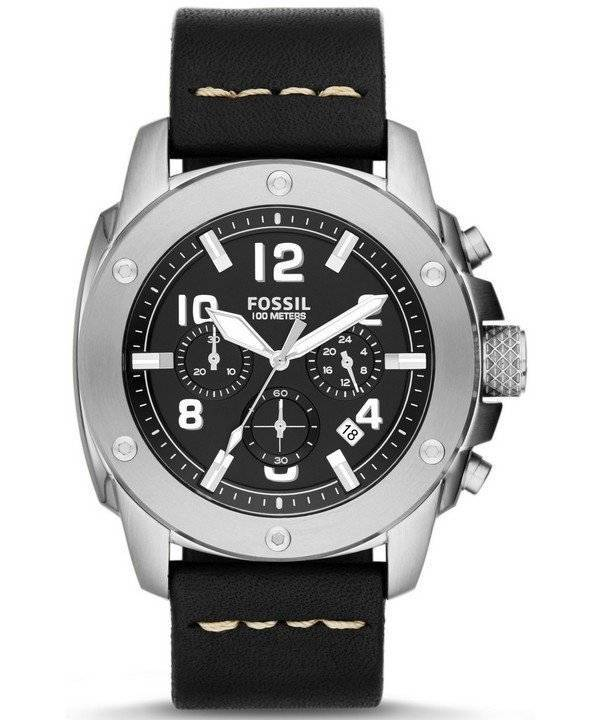 Fossil Modern Machine Chronograph Black Leather FS4928 Men's Watch - Click Image to Close
