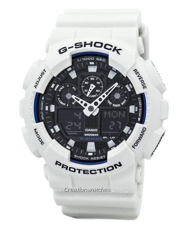 casio g shock world time white analog digital ga 100b 7a