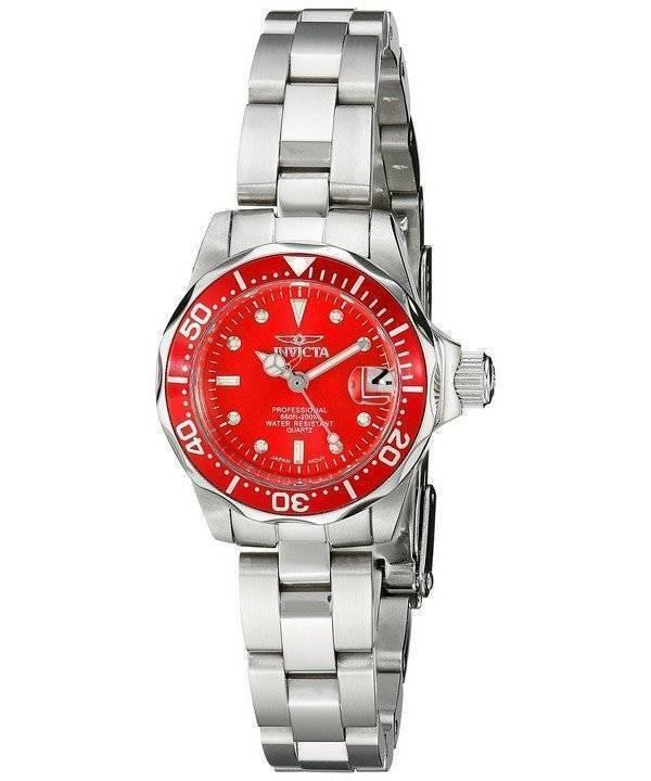 Invicta Pro-Diver 200M Quartz Red Dial 12522 Women's Watch - Click Image to Close