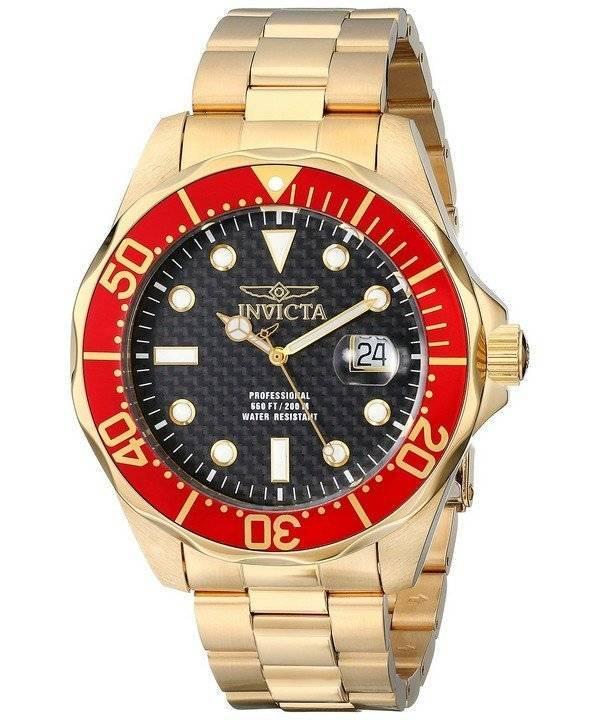 Invicta Pro Diver Gold Tone 200M 14359 Men's Watch - Click Image to Close