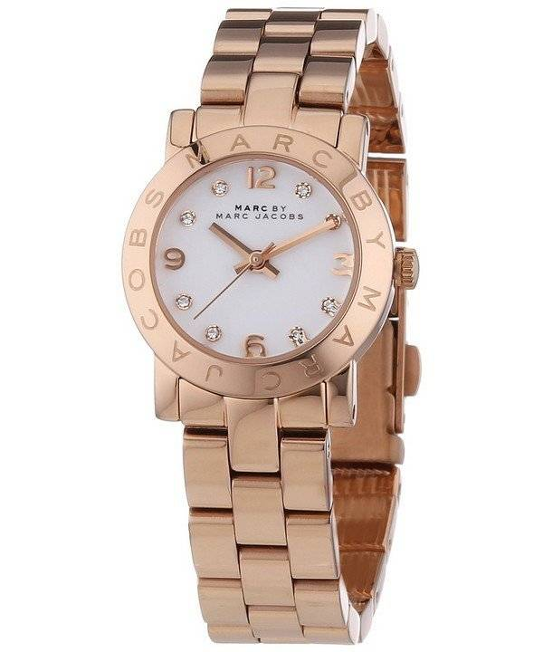 buy cheap marc by marc jacobs watches creationwatches com marc by marc jacobs mini amy quartz white dial rose gold tone mbm3078 women s watch