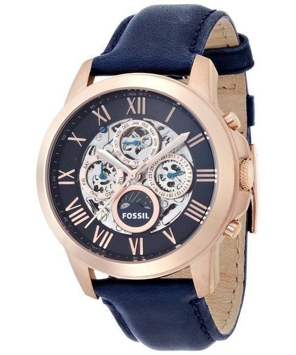 Fossil Grant Automatic Blue Skeleton Dial Blue Leather ME3029 Men's Watch - Click Image to Close