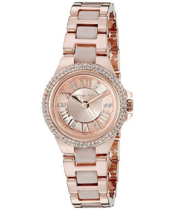 Michael Kors Petite Camille Rose Gold Tone Crystals MK4292 Women's Watch - Click Image to Close