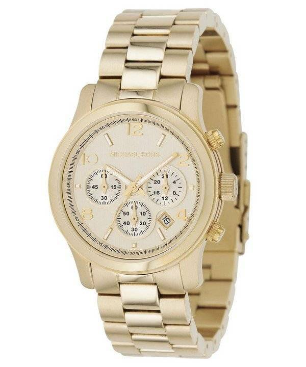 Michael Kors Yellow Golden Chronograph Runway MK5055 Unisex Watch - Click Image to Close
