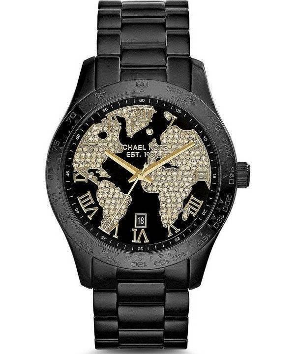 Michael Kors Layton Crystals Black IP MK6091 Women's Watch - Click Image to Close