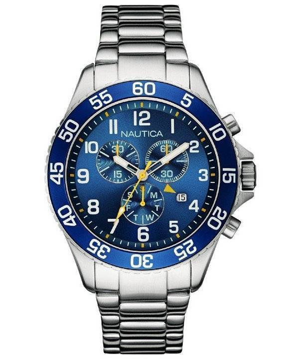 Nautica Chronograph Blue Dial Date Display NAI17508G Men's Watch - Click Image to Close