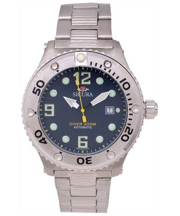 Sicura Automatic Diver's 300M Crystal SM606MN Men's Watch - Click Image to Close