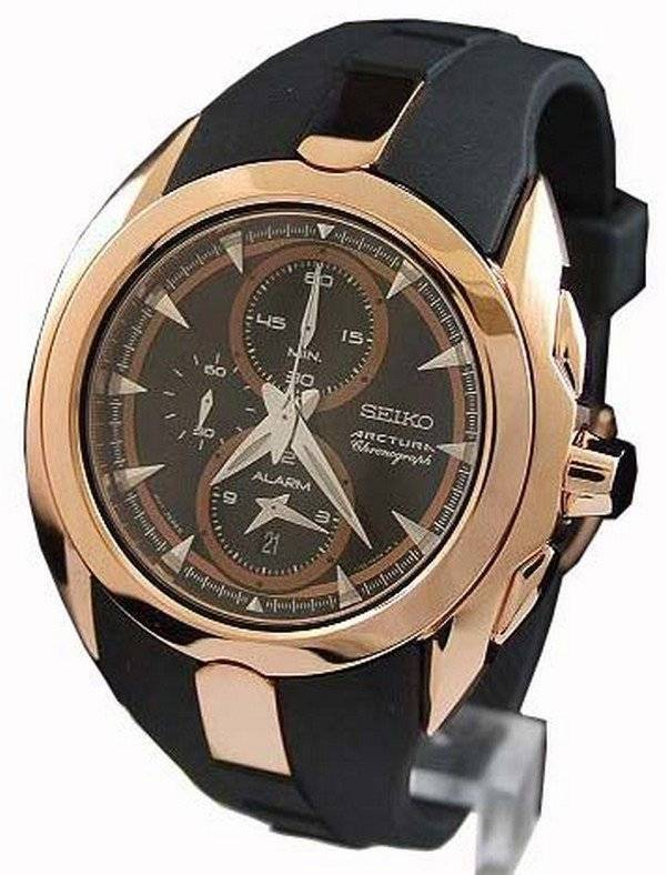 men s watches arctura alarm chronograph rose gold snad10p1 seiko men s watches arctura alarm chronograph rose gold snad10p1