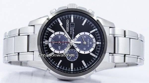 Seiko Solar Alarm Chronograph SSC087 SSC087P1 SSC087P Men's Watch - Click Image to Close