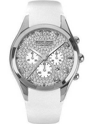Jacques Lemans Chronograph Divine 1-1264H Ladies White Leather Strap Watch
