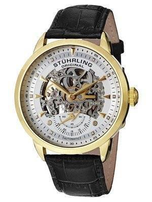 Stuhrling Original Executive Automatic Skeleton Black Leather 133.33352 Men's Watch