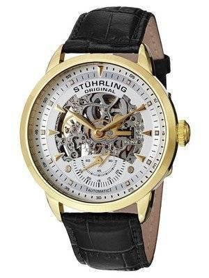 Stuhrling Original Executive Automatic Skeleton Black Leather 133.33352 Men's Watch