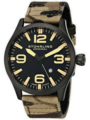 Stuhrling Original Aviator Swiss Quartz Camouflage Canvas 141C.02 Men's Watch