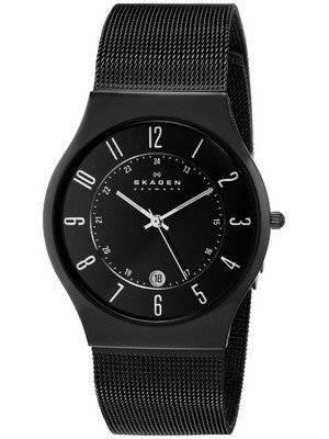 Skagen Black Dial Titanium Case Mesh Bracelet 233XLTMB Men's Watch