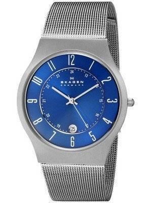 Skagen Blue Dial Titanium Case Mesh Bracelet 233XLTTN Men's Watch