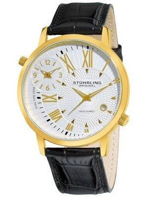 Stuhrling Original Symphony Polaris Swiss Quartz Dual Time Zone 343.33352 Men's Watch