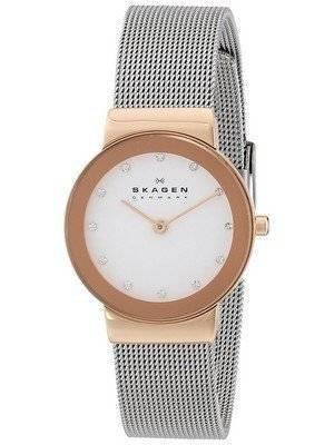 Skagen Freja White Dial Swarovski Stainless Steel Mesh Bracelet 358SRSC Women's Watch