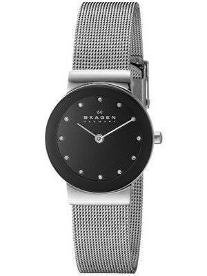 Skagen Freja Black Dial Swarovski Stainless Steel Mesh Bracelet 358SSSBD Women's Watch
