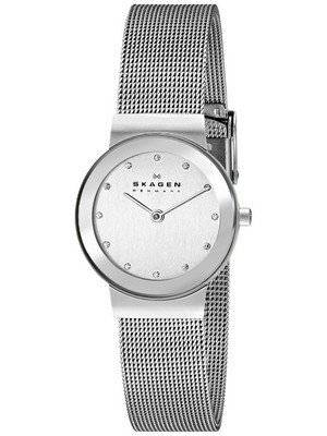 Skagen Classic Swarovski crystal Chrome Dial Mesh Bracelet 358SSSD Women's Watch