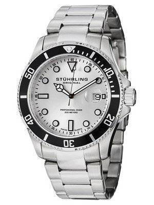 Stuhrling Original Regatta Espora Aquadiver Diver Silver Dial 417.01 Men's Watch