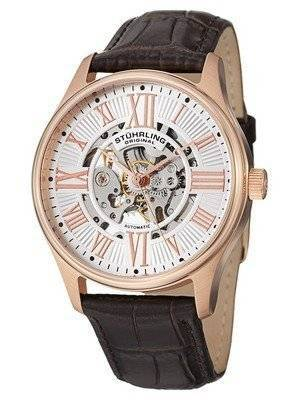 Stuhrling Original Atrium Automatic Skeleton Rose Tone 747.04 Men's Watch