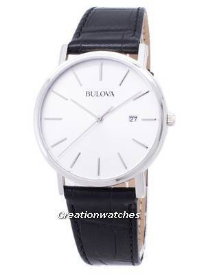 Bulova Black Leather 96B104 Mens Watch