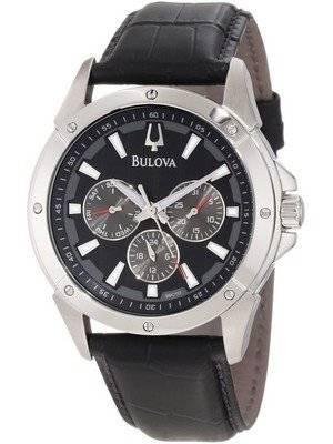 Bulova Black Leather Strap 96C113 Men's Watch