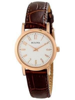 Bulova Quartz Brown Leather Strap 97L121 Women's Watch