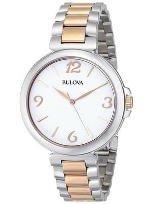 Bulova Two Tone White Dial Quartz 98L195 Women's Watch