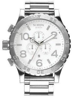 Nixon High Polish White Dial Chronograph 300M A083-488-00 Men's Watch