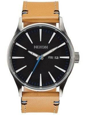Nixon Quartz Sentry Leather Black Dial A105-1602-00 Men's Watch