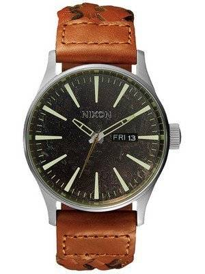 Nixon Quartz Sentry Leather Dark Copper Dial A105-1959-00 Men's Watch