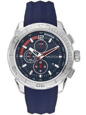 Nautica NST 101 Chronograph Blue Dial Silicone A18724G Men's Watch