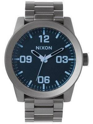 Nixon Corporal SS Gunmetal Blue Crystal A346-1427-00 Men's Watch