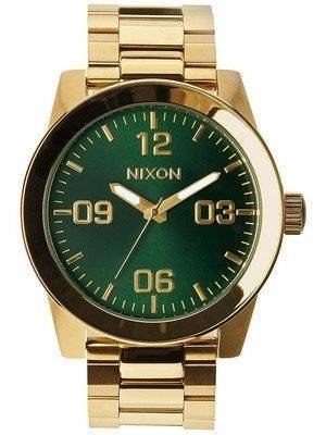 Nixon Corporal SS Gold Tone Green Sunray Dial A346-1919-00 Men's Watch