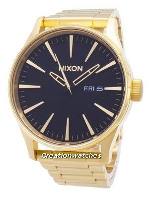Nixon Sentry SS Gold Tone Black Dial A356-510-00 Men's Watch