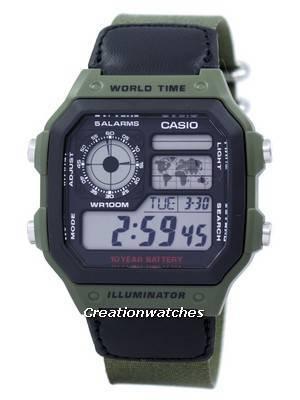 Casio World Time Alarm Digital AE-1200WHB-3BV Men's Watch