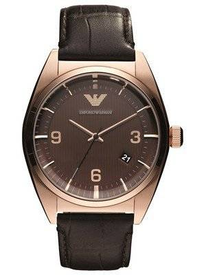 Emporio Armani Classic Brown Dial Leather Band AR0367 Men's Watch