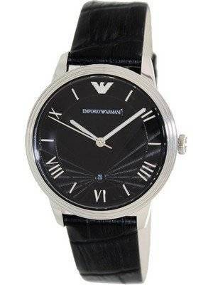 Emporio Armani Classic Black Dial Black Leather AR1611 Men's Watch