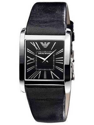 Emporio Armani Super Slim Black Dial Black Leather AR2007 Unisex Watch