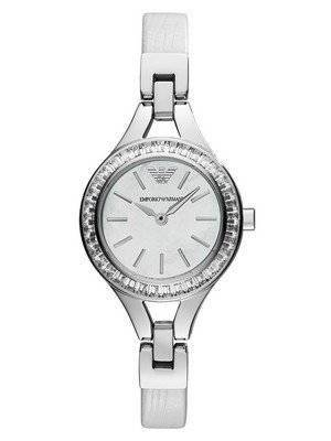 Emporio Armani Quartz White Leather Crystallized AR7353 Ladies Watch