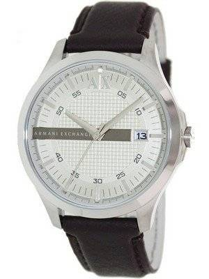 Armani Exchange Silver Dial Leather Strap AX2100 Men's Watch