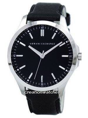Armani Exchange Quartz Black Dial Black Leather Strap AX2149 Men's Watch