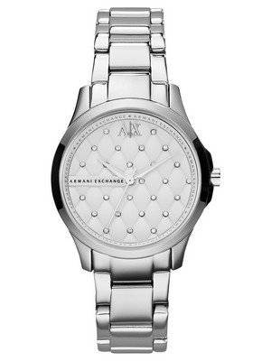Armani Exchange Silver Crystal Quilted Dial AX5208 Women's Watch