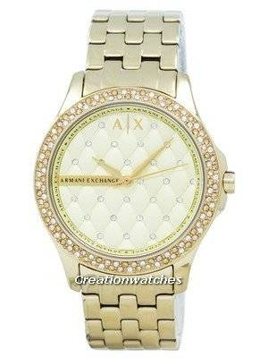 Armani Exchange Lady Hampton Champagne Quilted Dial Cyrstals AX5216 Women's Watch